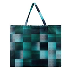Background Squares Metal Green Zipper Large Tote Bag