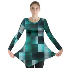 Background Squares Metal Green Long Sleeve Tunic