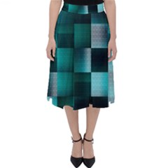 Background Squares Metal Green Folding Skater Skirt