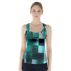 Background Squares Metal Green Racer Back Sports Top