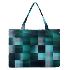 Background Squares Metal Green Zipper Medium Tote Bag by Nexatart