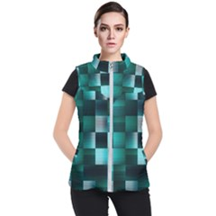 Background Squares Metal Green Women s Puffer Vest