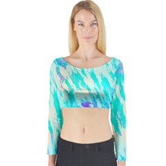 Blue Background Art Abstract Watercolor Long Sleeve Crop Top