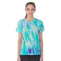 Blue Background Art Abstract Watercolor Women s Cotton Tee