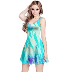 Blue Background Art Abstract Watercolor Reversible Sleeveless Dress