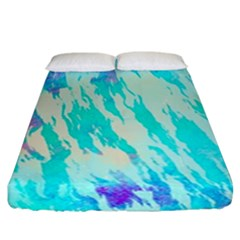 Blue Background Art Abstract Watercolor Fitted Sheet (california King Size)