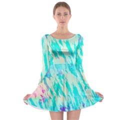 Blue Background Art Abstract Watercolor Long Sleeve Skater Dress