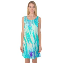 Blue Background Art Abstract Watercolor Sleeveless Satin Nightdress