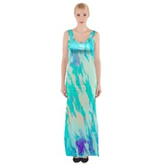 Blue Background Art Abstract Watercolor Maxi Thigh Split Dress