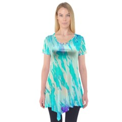 Blue Background Art Abstract Watercolor Short Sleeve Tunic