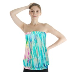 Blue Background Art Abstract Watercolor Strapless Top