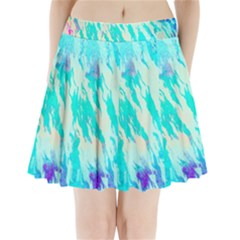 Blue Background Art Abstract Watercolor Pleated Mini Skirt