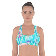 Blue Background Art Abstract Watercolor Cross Back Sports Bra