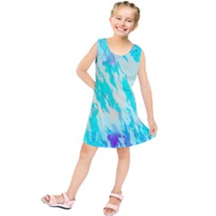 Blue Background Art Abstract Watercolor Kids  Tunic Dress