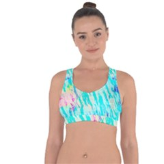 Blue Background Art Abstract Watercolor Cross String Back Sports Bra