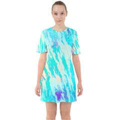 Blue Background Art Abstract Watercolor Sixties Short Sleeve Mini Dress