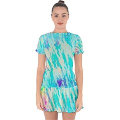 Blue Background Art Abstract Watercolor Drop Hem Mini Chiffon Dress