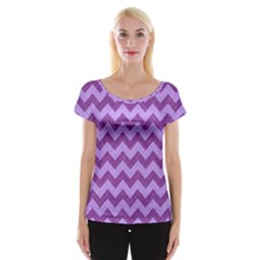 Background Fabric Violet Cap Sleeve Tops