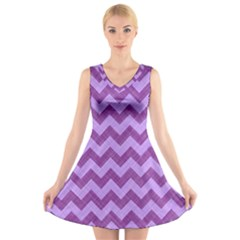 Background Fabric Violet V Neck Sleeveless Skater Dress