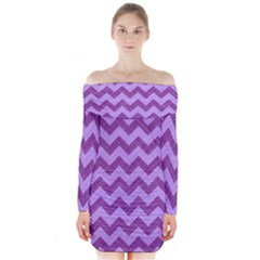 Background Fabric Violet Long Sleeve Off Shoulder Dress