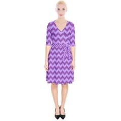 Background Fabric Violet Wrap Up Cocktail Dress
