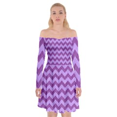 Background Fabric Violet Off Shoulder Skater Dress