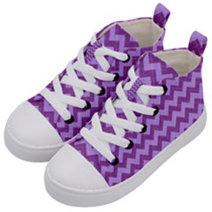 Background Fabric Violet Kid s Mid Top Canvas Sneakers by Nexatart