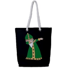 St  Patrick  Dabbing Full Print Rope Handle Tote (small) by Valentinaart