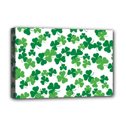 St  Patricks Day Clover Pattern Deluxe Canvas 18  X 12   by Valentinaart