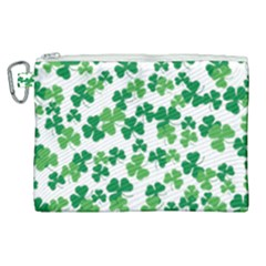 St  Patricks Day Clover Pattern Canvas Cosmetic Bag (xl) by Valentinaart