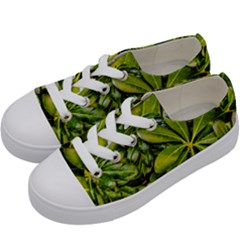 Top View Leaves Kids  Low Top Canvas Sneakers by dflcprints