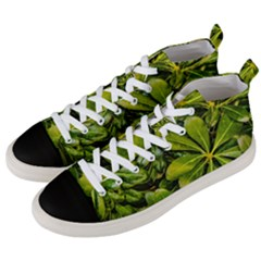 Top View Leaves Men s Mid Top Canvas Sneakers by dflcprints