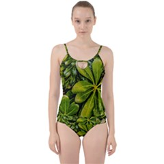 Top View Leaves Cut Out Top Tankini Set