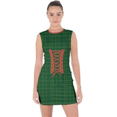 Irish Tartan Style Plaid Lace Up Front Bodycon Dress