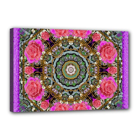 Roses In A Color Cascade Of Freedom And Peace Canvas 18  X 12  by pepitasart