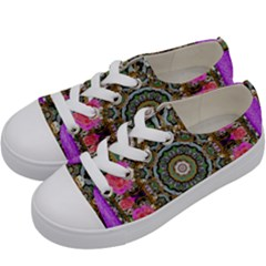 Roses In A Color Cascade Of Freedom And Peace Kids  Low Top Canvas Sneakers by pepitasart