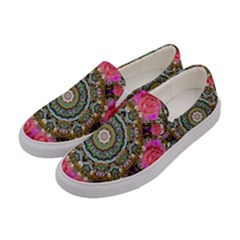 Roses In A Color Cascade Of Freedom And Peace Women s Canvas Slip Ons by pepitasart