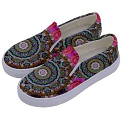 Roses In A Color Cascade Of Freedom And Peace Kids  Canvas Slip Ons by pepitasart