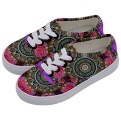 Roses In A Color Cascade Of Freedom And Peace Kids  Classic Low Top Sneakers by pepitasart