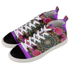 Roses In A Color Cascade Of Freedom And Peace Men s Mid Top Canvas Sneakers by pepitasart