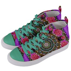 Roses In A Color Cascade Of Freedom And Peace Women s Mid Top Canvas Sneakers by pepitasart