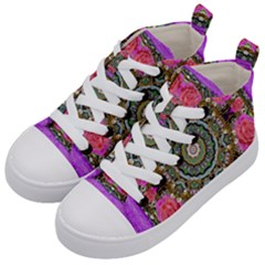 Roses In A Color Cascade Of Freedom And Peace Kid s Mid Top Canvas Sneakers by pepitasart