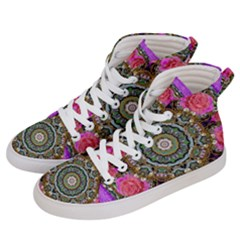 Roses In A Color Cascade Of Freedom And Peace Women s Hi Top Skate Sneakers by pepitasart