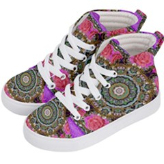 Roses In A Color Cascade Of Freedom And Peace Kid s Hi Top Skate Sneakers by pepitasart