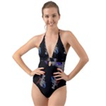 Dragons and Clouds Halter Cut-Out One Piece Swimsuit