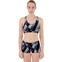 Black And White Grunge Striped Pattern Work It Out Sports Bra Set