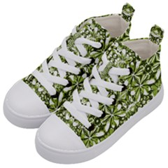 Stylized Nature Print Pattern Kid s Mid Top Canvas Sneakers by dflcprints