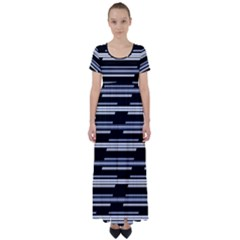 Skewed Stripes Pattern Design High Waist Short Sleeve Maxi Dress