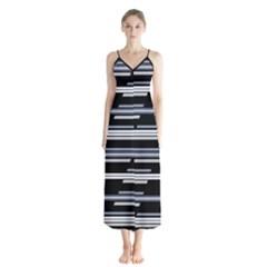 Skewed Stripes Pattern Design Button Up Chiffon Maxi Dress by dflcprints