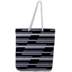 Skewed Stripes Pattern Design Full Print Rope Handle Tote (large)